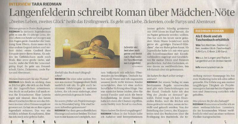 Interview mit Tara Riedman – Rheinische Post vom 26.05.2015